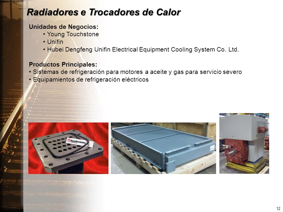Radiadores e Trocadores de Calor Unidades de Negocios: Young Touchstone Unifin Hubei Dengfeng Unifin Electrical Equipment Cooling System Co. Ltd. Prod