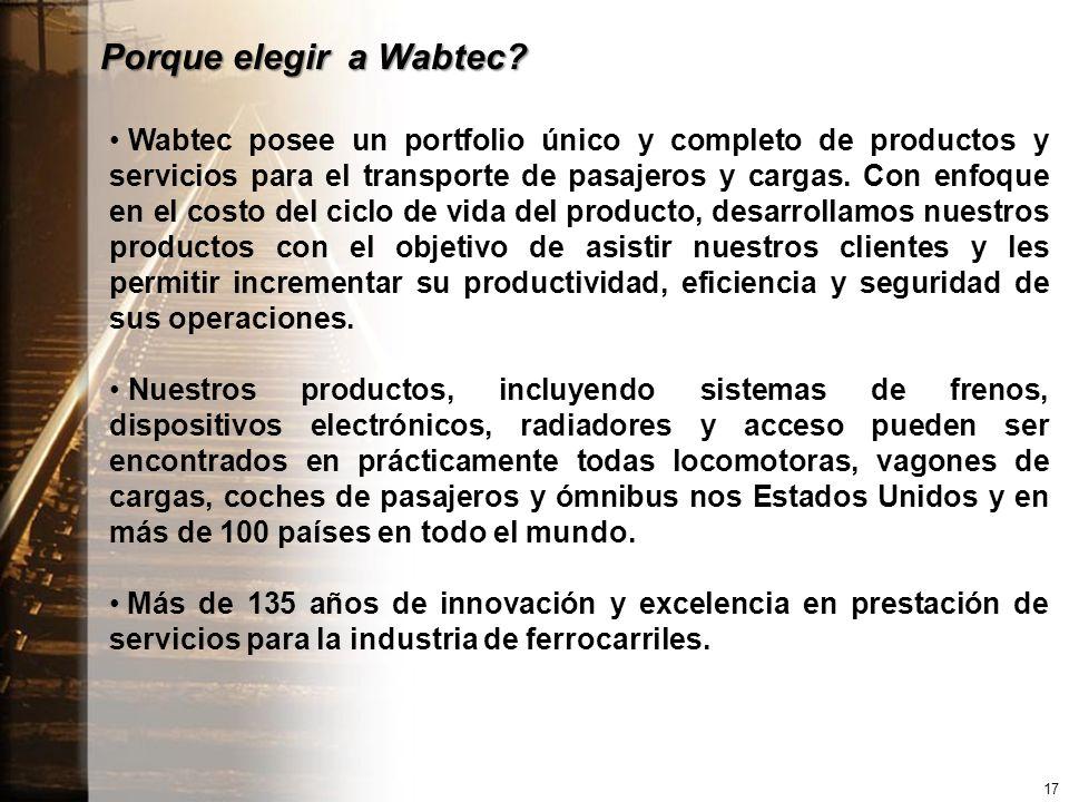 Porque elegir a Wabtec? Wabtec posee un portfolio único y completo de productos y servicios para el transporte de pasajeros y cargas. Con enfoque en e