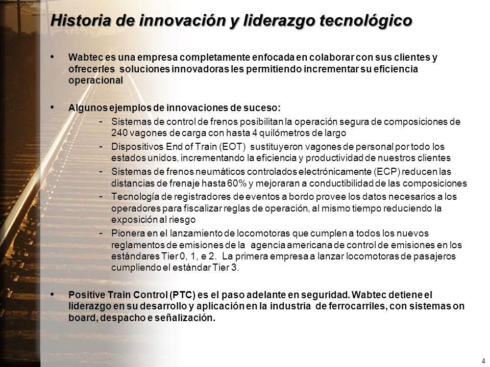 Historia de innovación y liderazgo tecnológico Wabtec es una empresa completamente enfocada en colaborar con sus clientes y ofrecerles soluciones innovadoras les permitiendo incrementar su eficiencia operacional Algunos ejemplos de innovaciones de suceso: -Sistemas de control de frenos posibilitan la operación segura de composiciones de 240 vagones de carga con hasta 4 quilómetros de largo -Dispositivos End of Train (EOT) sustituyeron vagones de personal por todo los estados unidos, incrementando la eficiencia y productividad de nuestros clientes -Sistemas de frenos neumáticos controlados electrónicamente (ECP) reducen las distancias de frenaje hasta 60% y mejoraran a conductibilidad de las composiciones -Tecnología de registradores de eventos a bordo provee los datos necesarios a los operadores para fiscalizar reglas de operación, al mismo tiempo reduciendo la exposición al riesgo -Pionera en el lanzamiento de locomotoras que cumplen a todos los nuevos reglamentos de emisiones de la agencia americana de control de emisiones en los estándares Tier 0, 1, e 2.
