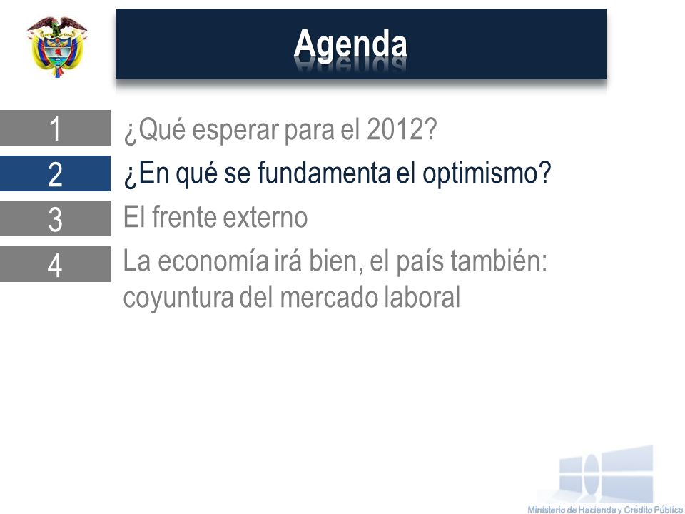Ministerio de Hacienda y Crédito Público ¿Qué esperar para el 2012.