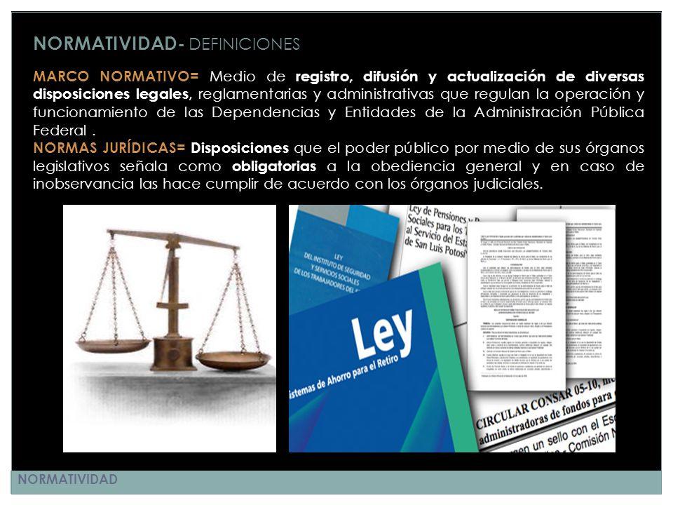 NORMATIVIDAD- DEFINICIONES MARCO NORMATIVO= Medio de registro, difusión y actualización de diversas disposiciones legales, reglamentarias y administra