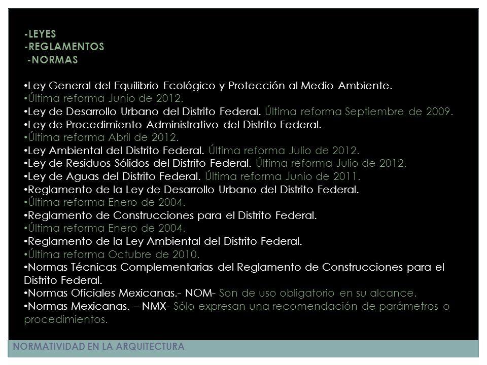 NORMATIVIDAD EN LA ARQUITECTURA -LEYES -REGLAMENTOS -NORMAS Ley General del Equilibrio Ecológico y Protección al Medio Ambiente. Última reforma Junio