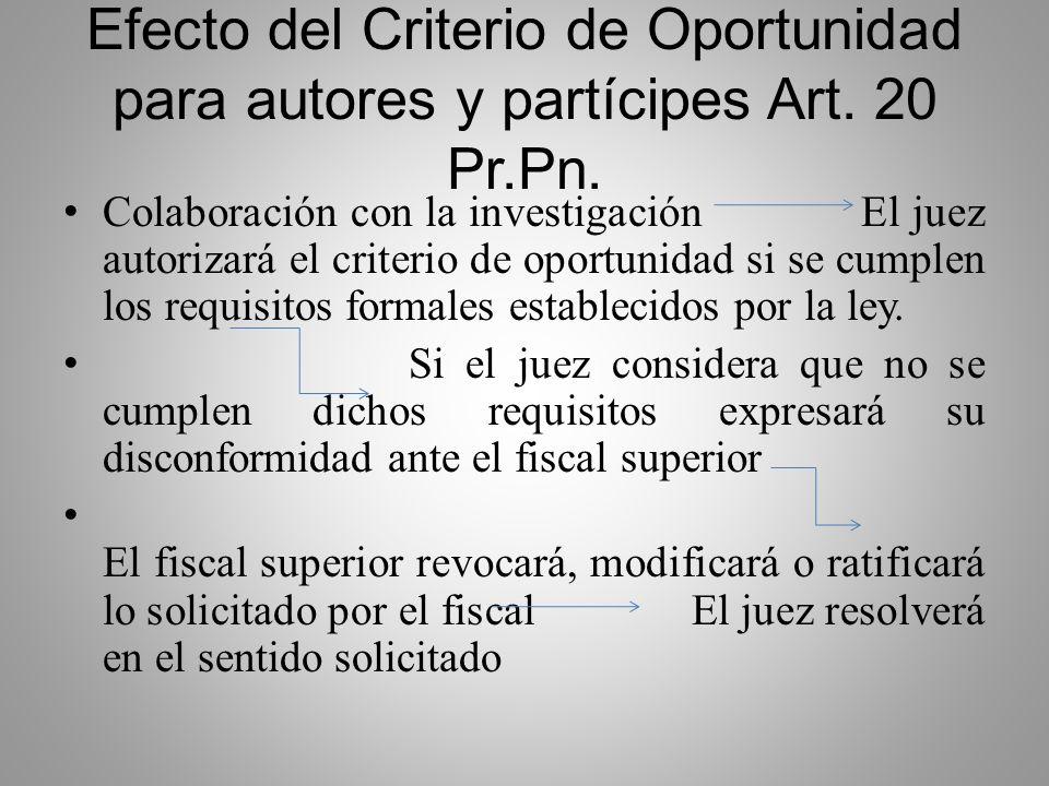Efectos Cuando el Criterio de Oportunidad haya sido otorgado de conformidad al Art. 18 Pr. Pn. (No. 2 al 5) Art. 19 Conversión de la acción penal públ