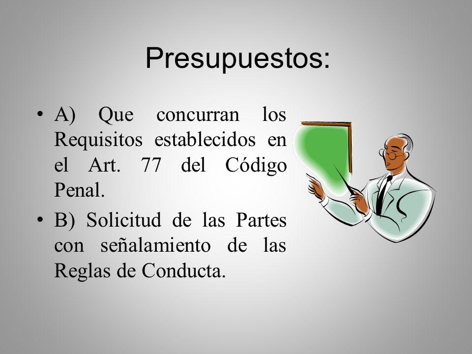 Art. 24 NCPP La solicitud deberá contener las condiciones a las cuales estaría dispuesto a someterse el imputado, conforme al articulo siguiente. Si e