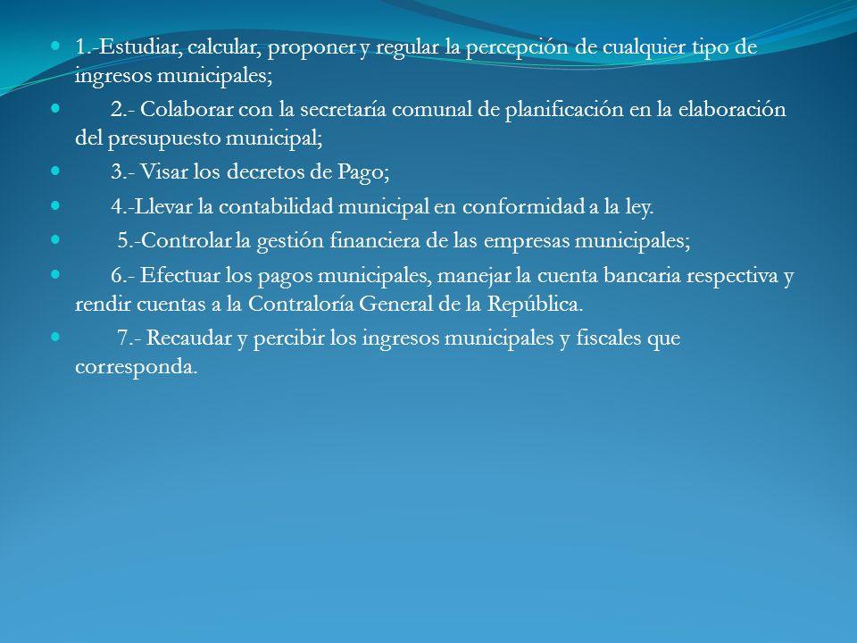 1.-Estudiar, calcular, proponer y regular la percepción de cualquier tipo de ingresos municipales; 2.- Colaborar con la secretaría comunal de planific