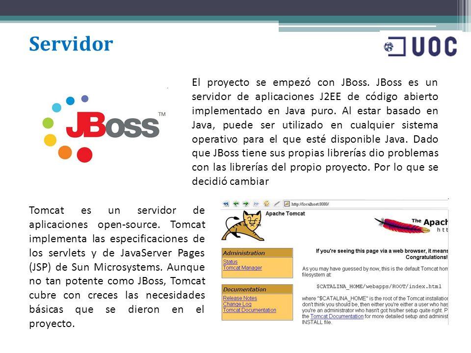 Servidor Tomcat es un servidor de aplicaciones open-source. Tomcat implementa las especificaciones de los servlets y de JavaServer Pages (JSP) de Sun