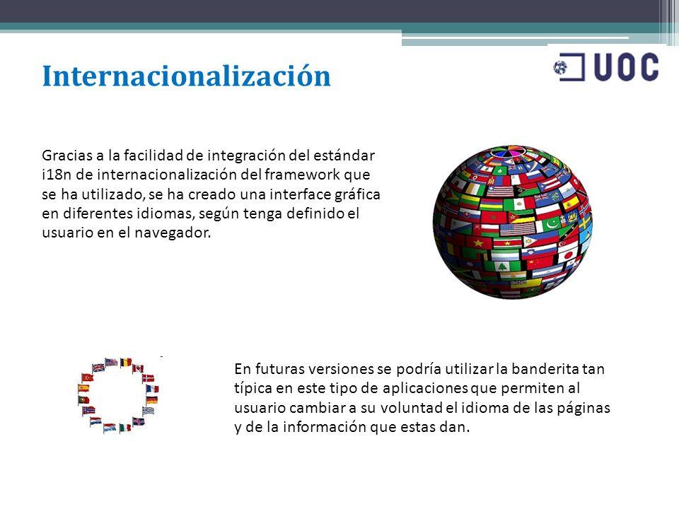 Internacionalización Gracias a la facilidad de integración del estándar i18n de internacionalización del framework que se ha utilizado, se ha creado u