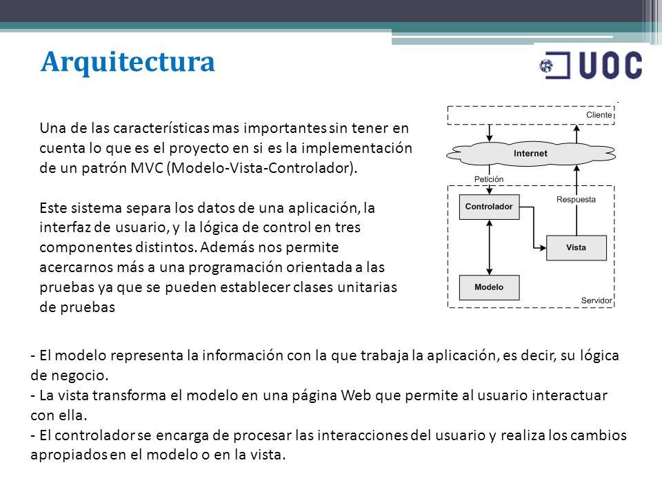 Arquitectura Una de las características mas importantes sin tener en cuenta lo que es el proyecto en si es la implementación de un patrón MVC (Modelo-