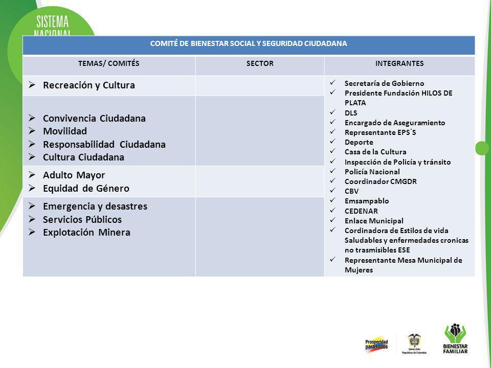 COMITÉ DE BIENESTAR SOCIAL Y SEGURIDAD CIUDADANA TEMAS/ COMITÉSSECTORINTEGRANTES Recreación y Cultura Secretaría de Gobierno Presidente Fundación HILO