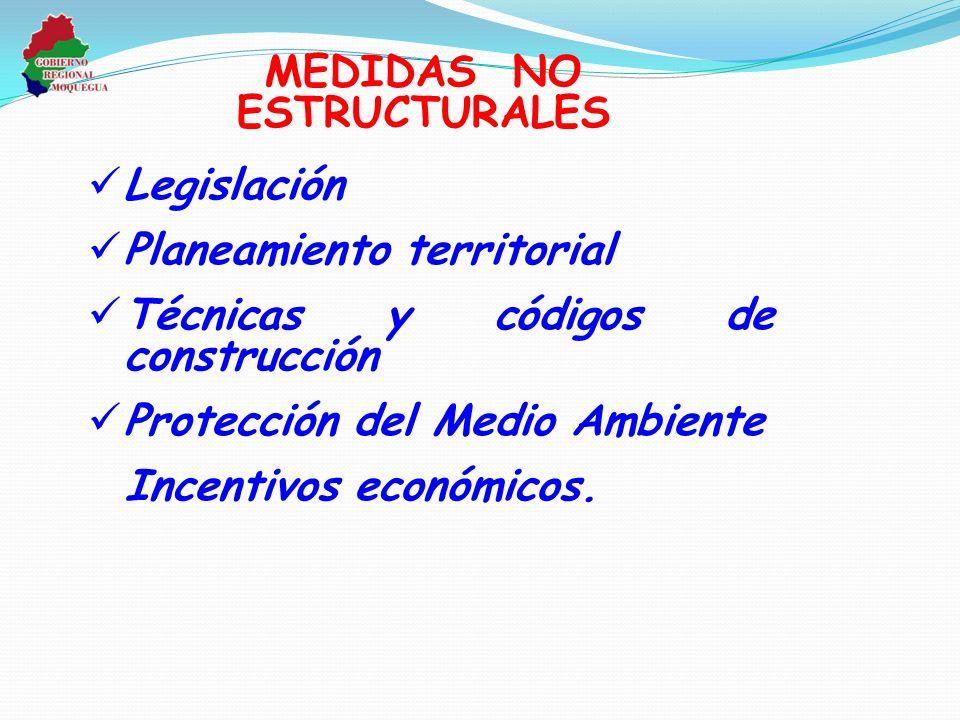 Legislación Planeamiento territorial Técnicas y códigos de construcción Protección del Medio Ambiente Incentivos económicos. MEDIDAS NO ESTRUCTURALES