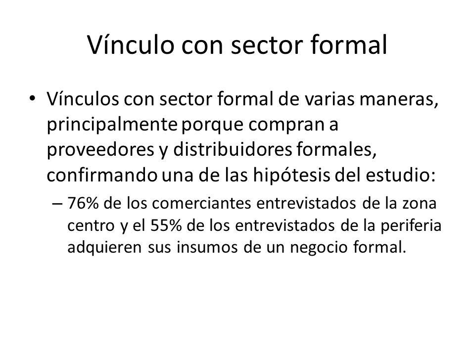 Vínculo con sector formal Vínculos con sector formal de varias maneras, principalmente porque compran a proveedores y distribuidores formales, confirm