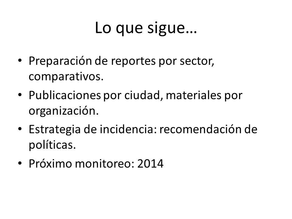 Lo que sigue… Preparación de reportes por sector, comparativos. Publicaciones por ciudad, materiales por organización. Estrategia de incidencia: recom
