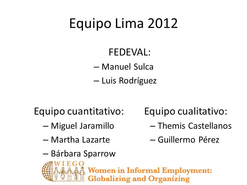 Equipo Lima 2012 FEDEVAL: – Manuel Sulca – Luis Rodríguez Equipo cualitativo: – Themis Castellanos – Guillermo Pérez Equipo cuantitativo: – Miguel Jar