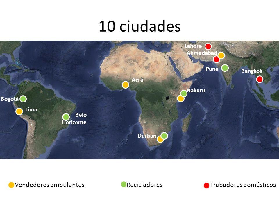 10 ciudades Vendedores ambulantesRecicladoresTrabadores domésticos Lima Bogotá Belo Horizonte Ahmedabad Acra Durban Nakuru Pune Bangkok Lahore