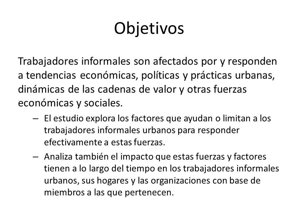 Objetivos Trabajadores informales son afectados por y responden a tendencias económicas, políticas y prácticas urbanas, dinámicas de las cadenas de va