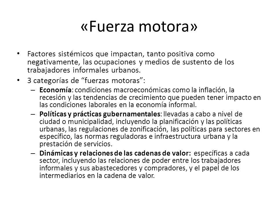 «Fuerza motora» Factores sistémicos que impactan, tanto positiva como negativamente, las ocupaciones y medios de sustento de los trabajadores informal