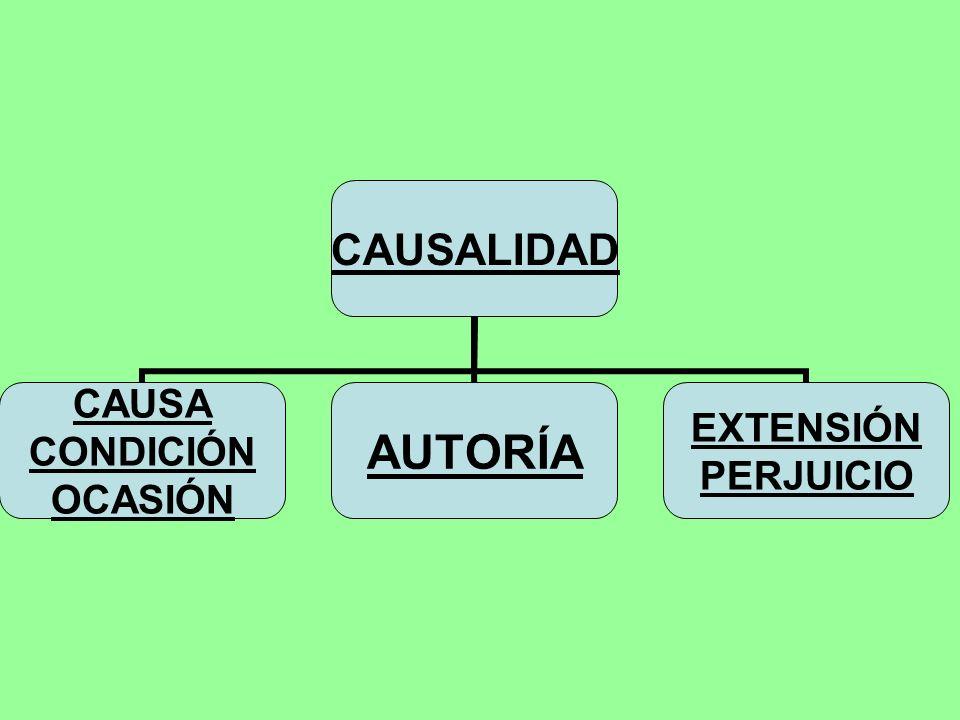 CAUSALIDAD CAUSA CONDICIÓN OCASIÓN AUTORÍA EXTENSIÓN PERJUICIO