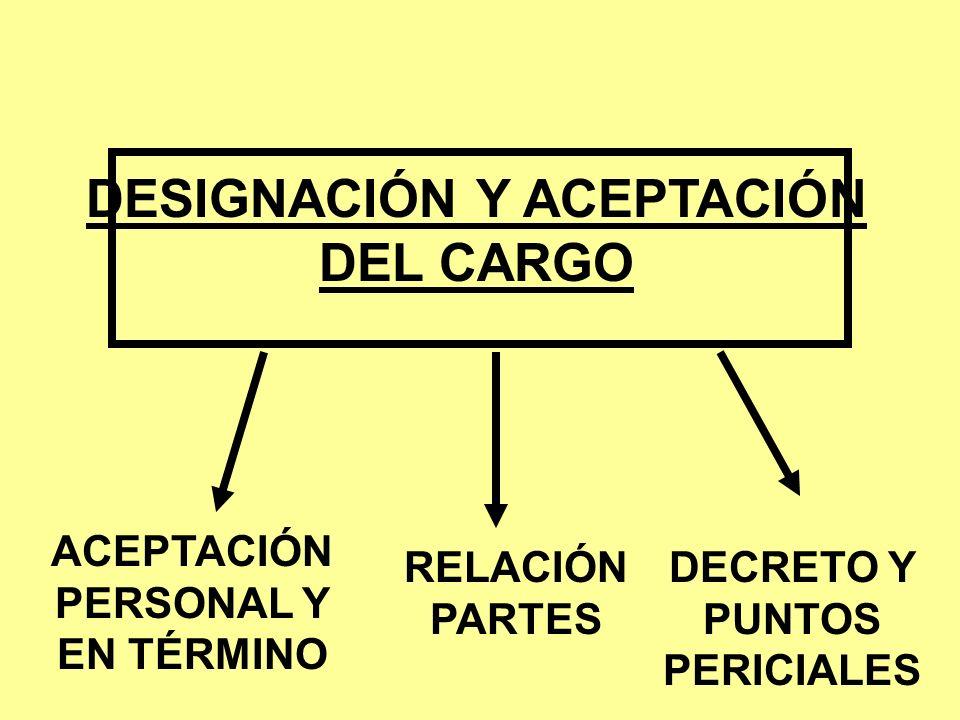 DESIGNACIÓN Y ACEPTACIÓN DEL CARGO ACEPTACIÓN PERSONAL Y EN TÉRMINO RELACIÓN PARTES DECRETO Y PUNTOS PERICIALES