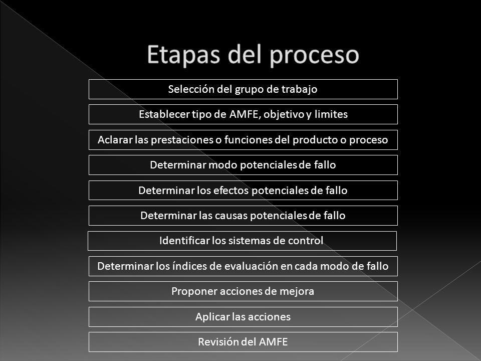 Selección del grupo de trabajo Determinar las causas potenciales de fallo Determinar modo potenciales de fallo Aclarar las prestaciones o funciones de