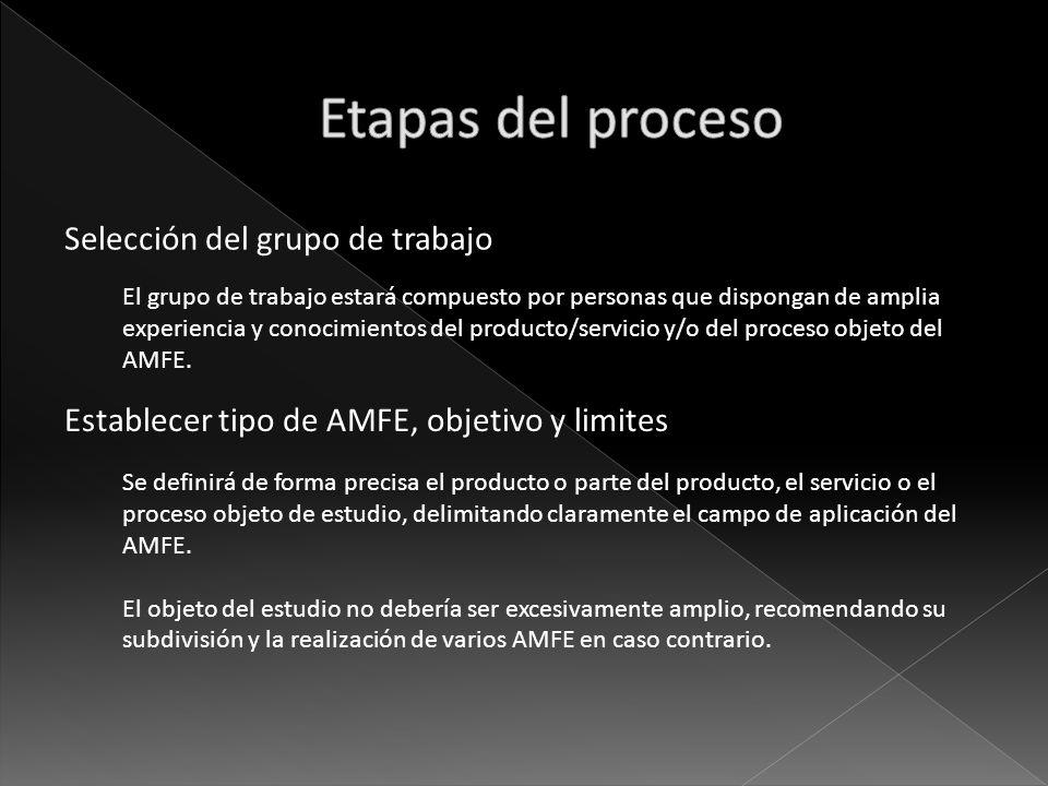 Selección del grupo de trabajo El grupo de trabajo estará compuesto por personas que dispongan de amplia experiencia y conocimientos del producto/serv