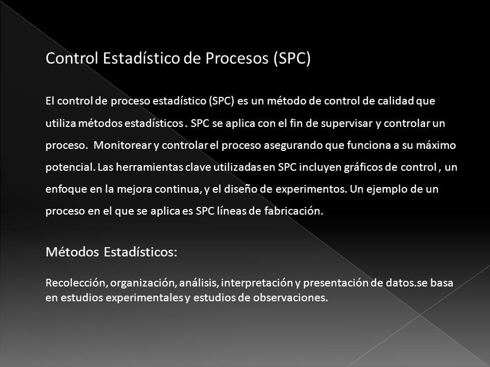 El control de proceso estadístico (SPC) es un método de control de calidad que utiliza métodos estadísticos. SPC se aplica con el fin de supervisar y