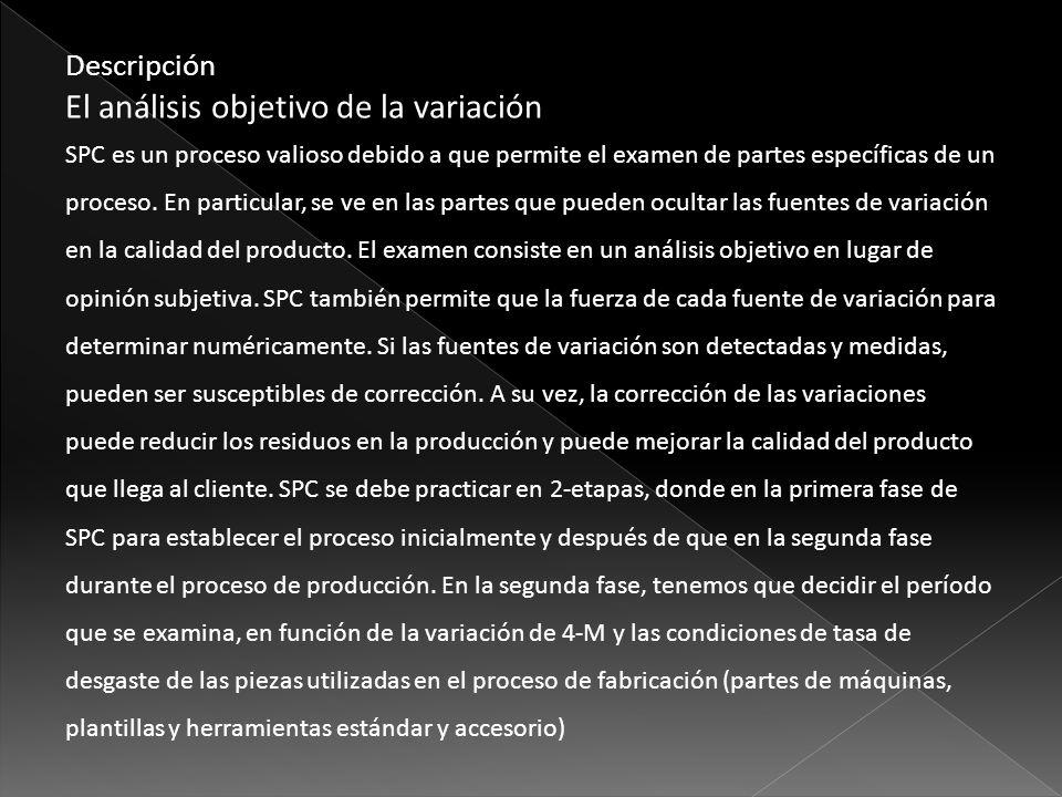 Descripción El análisis objetivo de la variación SPC es un proceso valioso debido a que permite el examen de partes específicas de un proceso. En part
