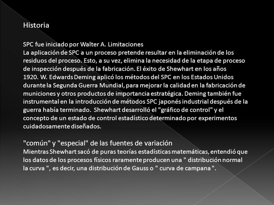Historia SPC fue iniciado por Walter A. Limitaciones La aplicación de SPC a un proceso pretende resultar en la eliminación de los residuos del proceso