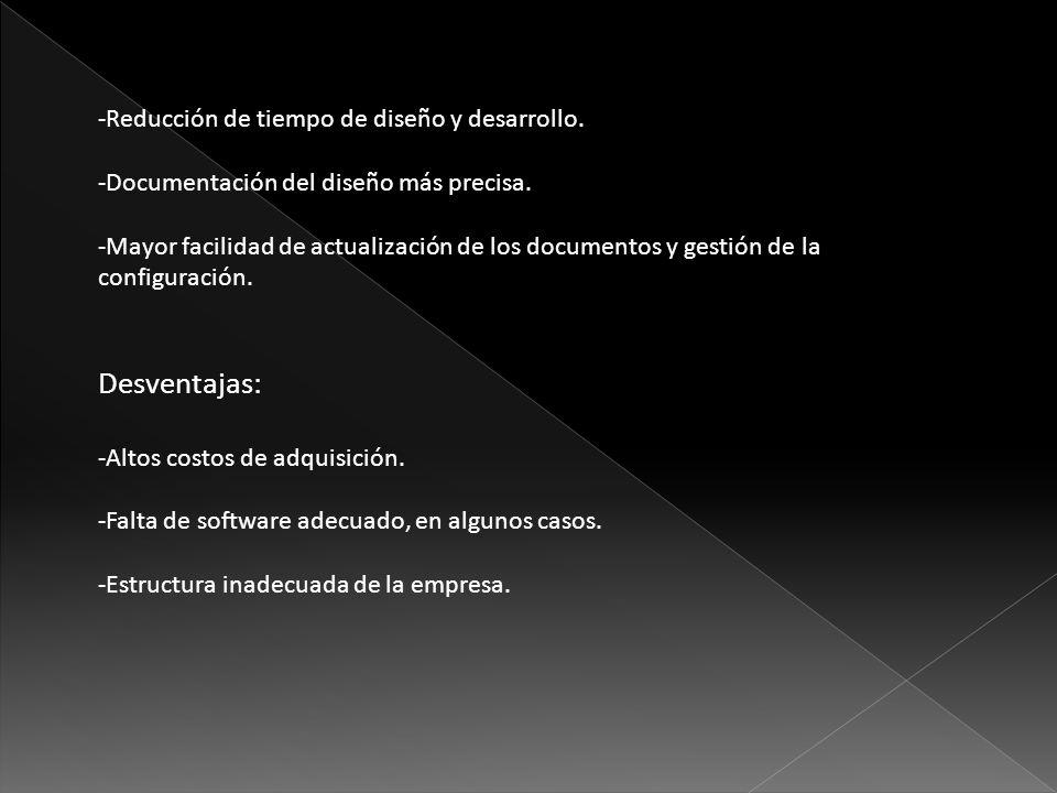 -Reducción de tiempo de diseño y desarrollo. -Documentación del diseño más precisa. -Mayor facilidad de actualización de los documentos y gestión de l