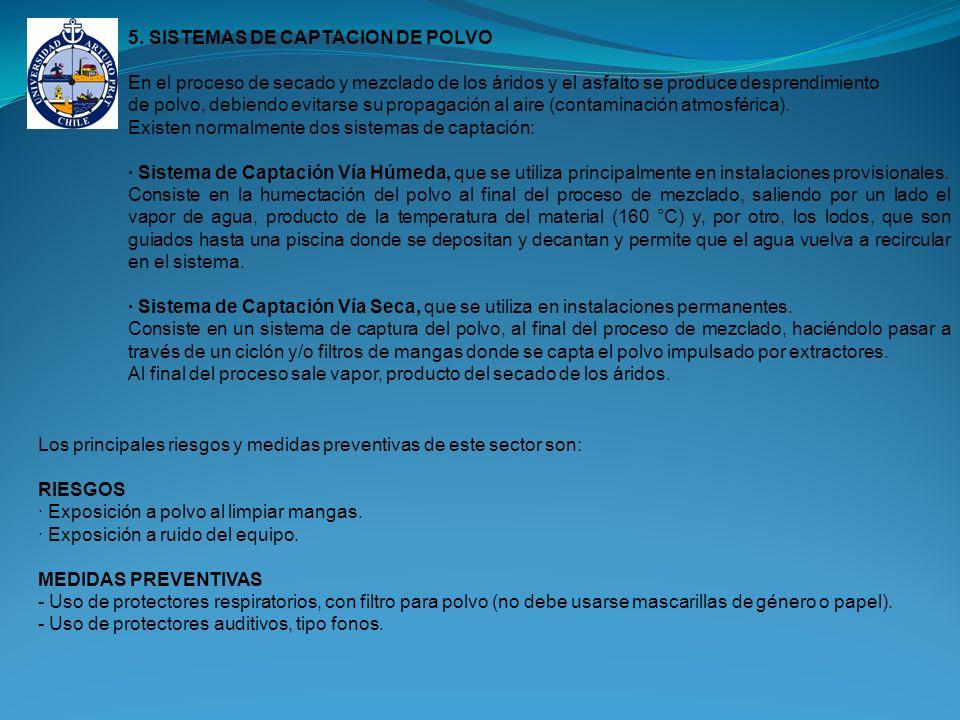 5. SISTEMAS DE CAPTACION DE POLVO En el proceso de secado y mezclado de los áridos y el asfalto se produce desprendimiento de polvo, debiendo evitarse