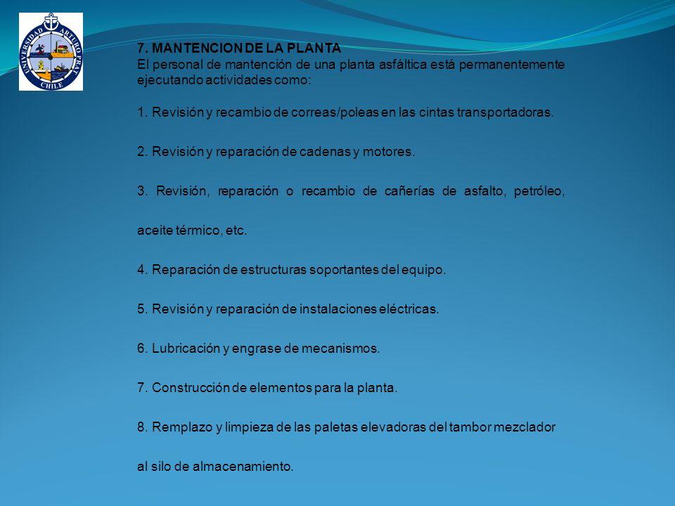 7. MANTENCION DE LA PLANTA El personal de mantención de una planta asfáltica está permanentemente ejecutando actividades como: 1. Revisión y recambio