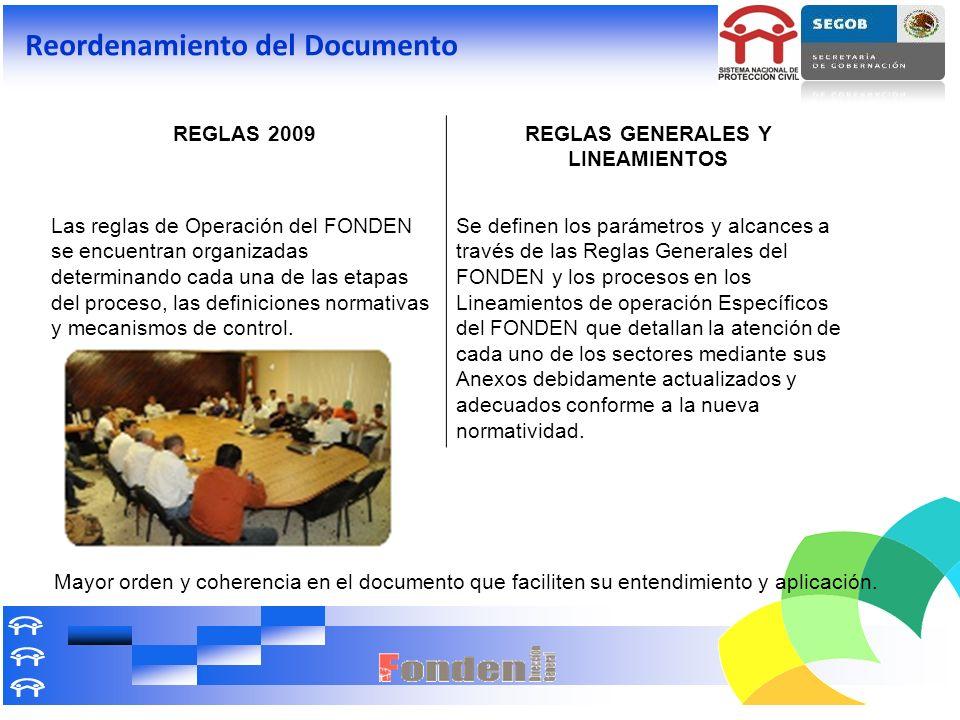 Reordenamiento del Documento REGLAS 2009REGLAS GENERALES Y LINEAMIENTOS Las reglas de Operación del FONDEN se encuentran organizadas determinando cada