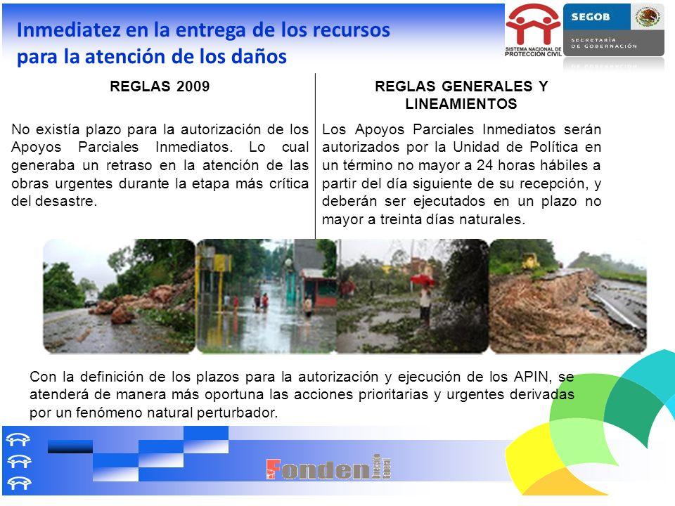 Inmediatez en la entrega de los recursos para la atención de los daños REGLAS 2009REGLAS GENERALES Y LINEAMIENTOS No existía plazo para la autorizació