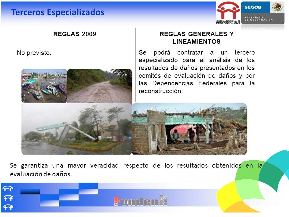 Terceros Especializados REGLAS 2009REGLAS GENERALES Y LINEAMIENTOS No previsto. Se podrá contratar a un tercero especializado para el análisis de los