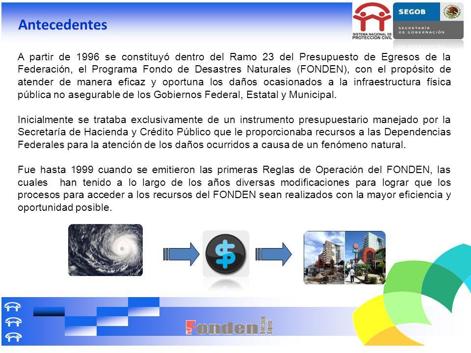 A partir de 1996 se constituyó dentro del Ramo 23 del Presupuesto de Egresos de la Federación, el Programa Fondo de Desastres Naturales (FONDEN), con
