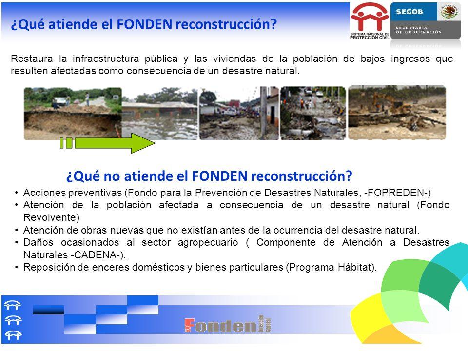 ¿Qué atiende el FONDEN reconstrucción? Restaura la infraestructura pública y las viviendas de la población de bajos ingresos que resulten afectadas co