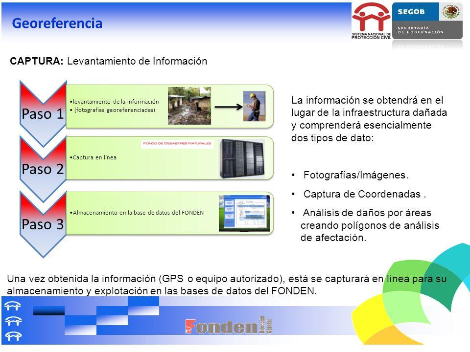 CAPTURA: Levantamiento de Información La información se obtendrá en el lugar de la infraestructura dañada y comprenderá esencialmente dos tipos de dat