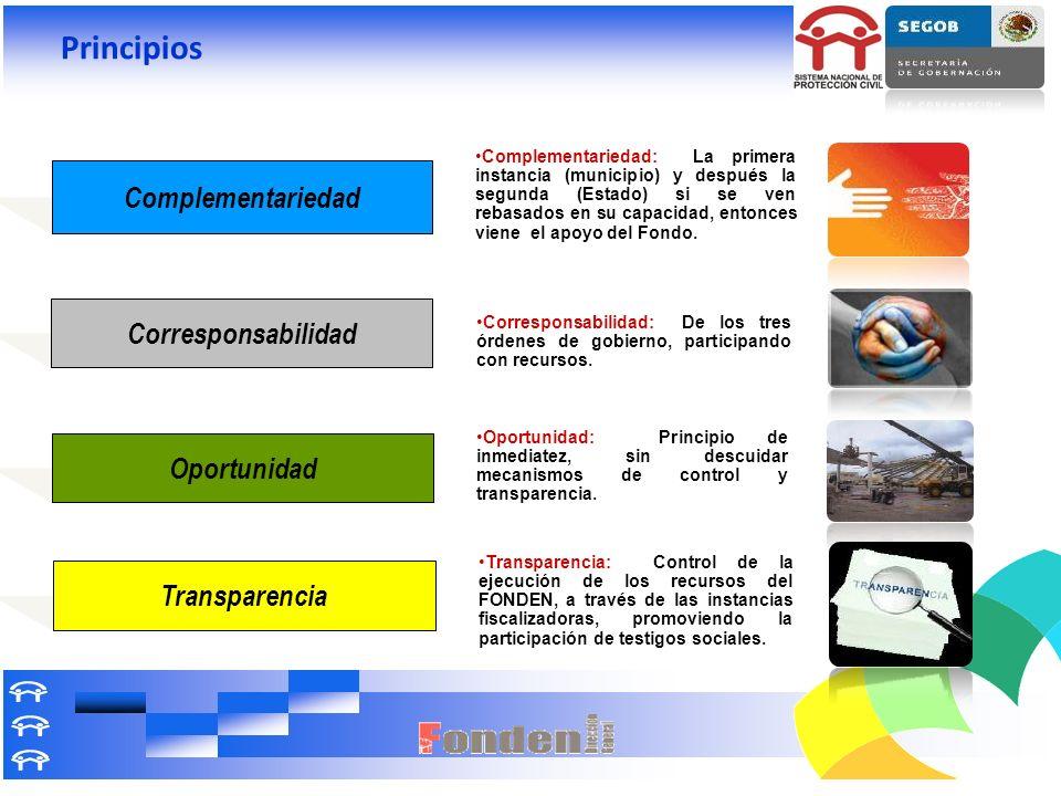 Complementariedad: La primera instancia (municipio) y después la segunda (Estado) si se ven rebasados en su capacidad, entonces viene el apoyo del Fon