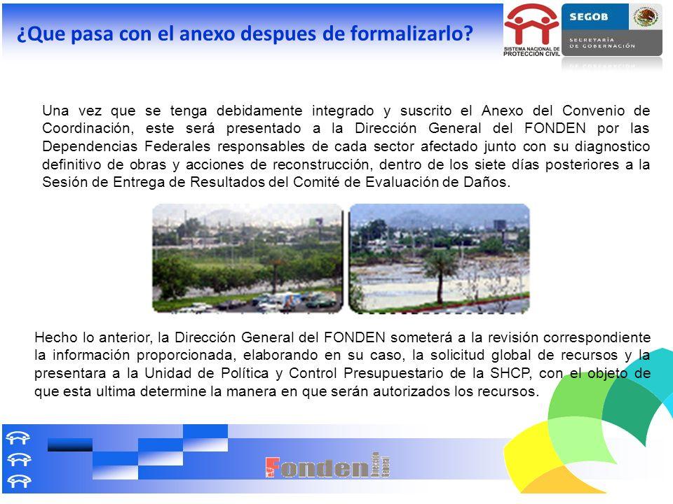 Una vez que se tenga debidamente integrado y suscrito el Anexo del Convenio de Coordinación, este será presentado a la Dirección General del FONDEN po