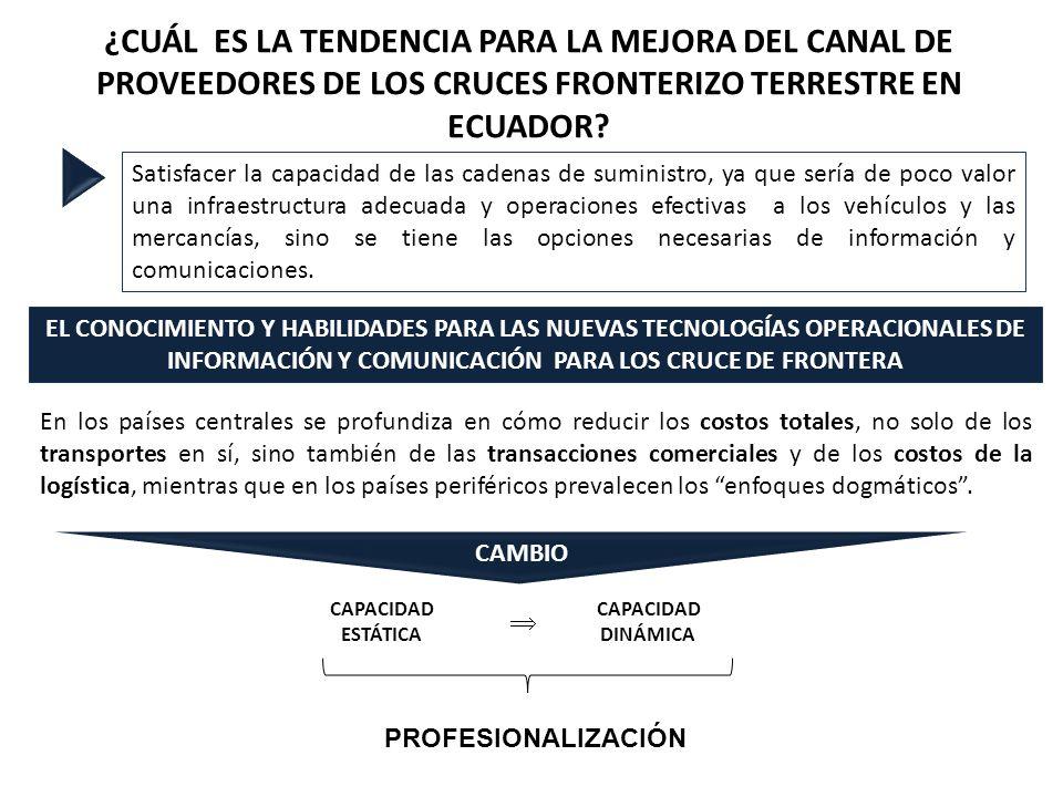 ¿CUÁL ES LA TENDENCIA PARA LA MEJORA DEL CANAL DE PROVEEDORES DE LOS CRUCES FRONTERIZO TERRESTRE EN ECUADOR? Satisfacer la capacidad de las cadenas de