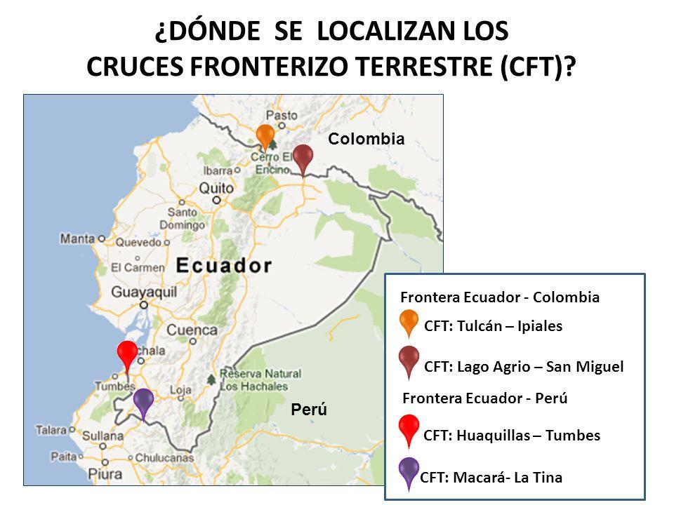 ¿DÓNDE SE LOCALIZAN LOS CRUCES FRONTERIZO TERRESTRE (CFT)? CFT: Tulcán – Ipiales Colombia Perú CFT: Lago Agrio – San Miguel CFT: Huaquillas – Tumbes C