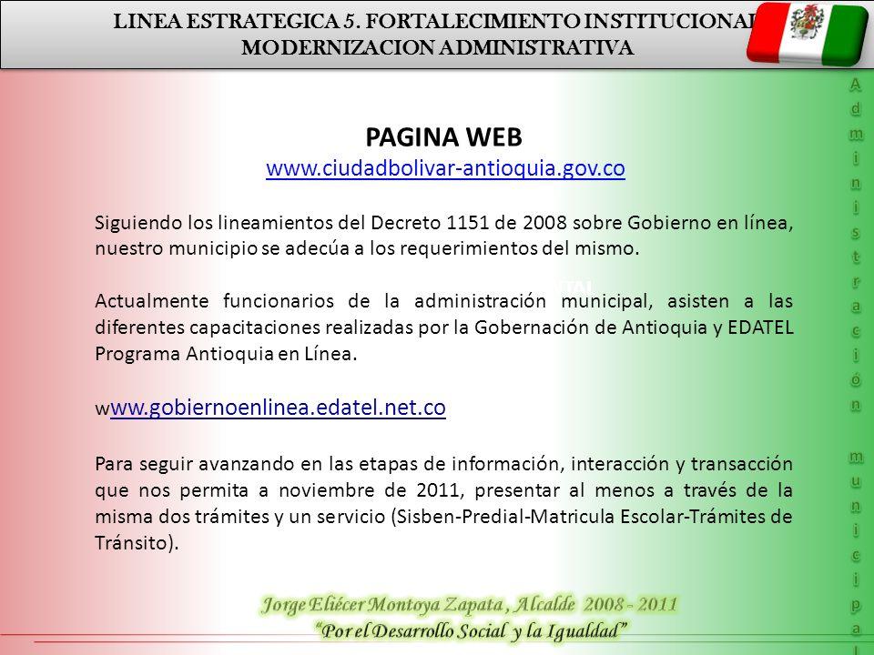 MODERNIZACION ADMINISTRATIVA LINEA ESTRATEGICA 5. FORTALECIMIENTO INSTITUCIONAL MODERNIZACION ADMINISTRATIVA PLAN DE DESARROLLO DEPARTAMENTAL LINEA ES