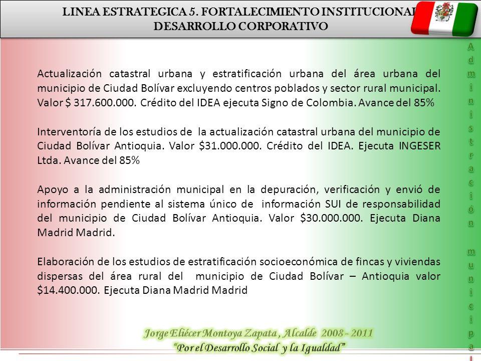 LINEA ESTRATEGICA 5. FORTALECIMIENTO INSTITUCIONAL DESARROLLO CORPORATIVO LINEA ESTRATEGICA 5. FORTALECIMIENTO INSTITUCIONAL DESARROLLO CORPORATIVO Ac