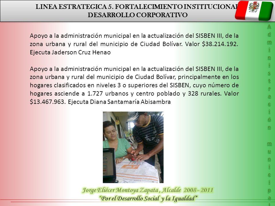 LINEA ESTRATEGICA 5. FORTALECIMIENTO INSTITUCIONAL DESARROLLO CORPORATIVO LINEA ESTRATEGICA 5. FORTALECIMIENTO INSTITUCIONAL DESARROLLO CORPORATIVO Ap