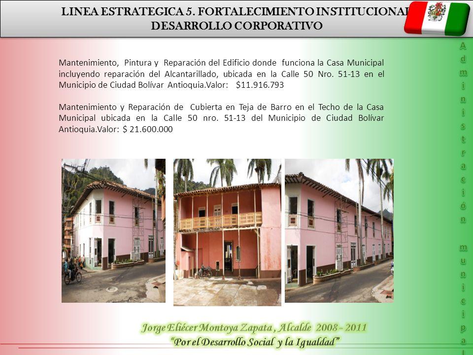 LINEA ESTRATEGICA 5. FORTALECIMIENTO INSTITUCIONAL DESARROLLO CORPORATIVO LINEA ESTRATEGICA 5. FORTALECIMIENTO INSTITUCIONAL DESARROLLO CORPORATIVO Ma