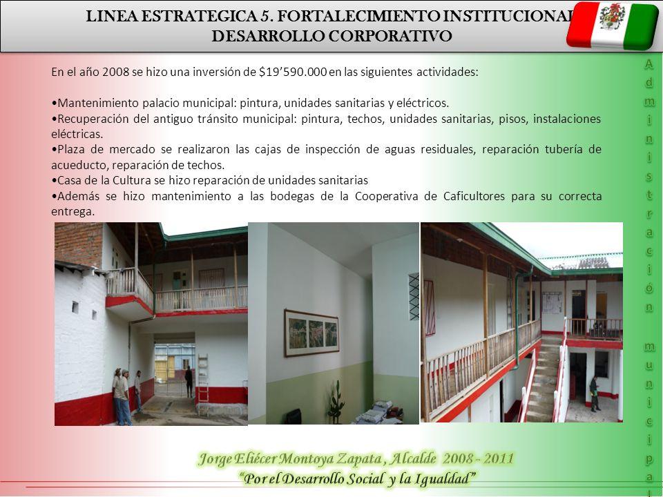 LINEA ESTRATEGICA 5. FORTALECIMIENTO INSTITUCIONAL DESARROLLO CORPORATIVO LINEA ESTRATEGICA 5. FORTALECIMIENTO INSTITUCIONAL DESARROLLO CORPORATIVO En