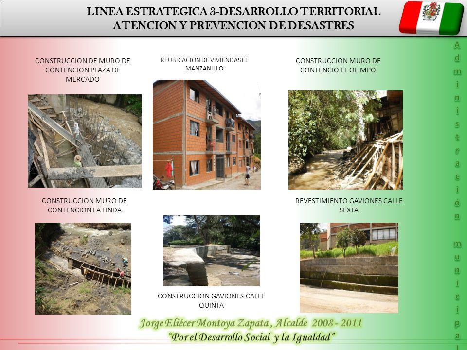 LINEA ESTRATEGICA 3-DESARROLLO TERRITORIAL ATENCION Y PREVENCION DE DESASTRES LINEA ESTRATEGICA 3-DESARROLLO TERRITORIAL ATENCION Y PREVENCION DE DESASTRES PLAN DE DESARROLLO DEPARTAMENTAL LINEA 1 DESARROLLO POLÍTICO CONSTRUCCION MURO DE CONTENCION BARRIO MANZANILLO CONSTRUCCION MURO DE CONTENCION URB.