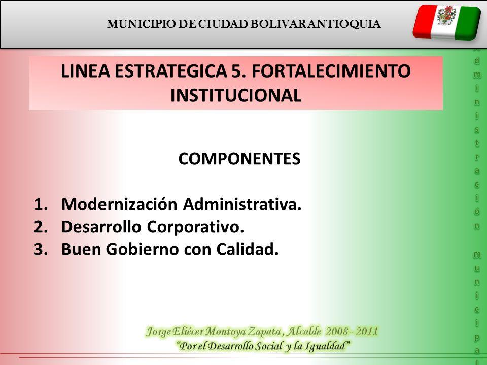 MUNICIPIO DE CIUDAD BOLIVAR ANTIOQUIA LINEA ESTRATEGICA 5. FORTALECIMIENTO INSTITUCIONAL COMPONENTES 1.Modernización Administrativa. 2.Desarrollo Corp