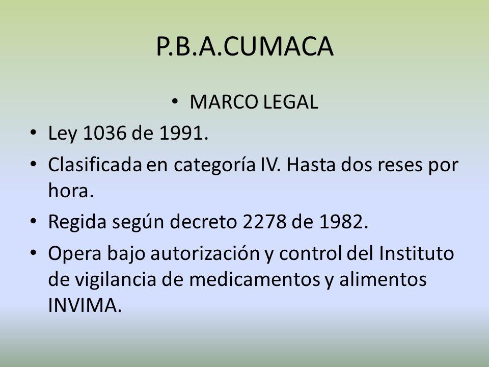 P.B.A.CUMACA MARCO LEGAL Ley 1036 de 1991.Clasificada en categoría IV.