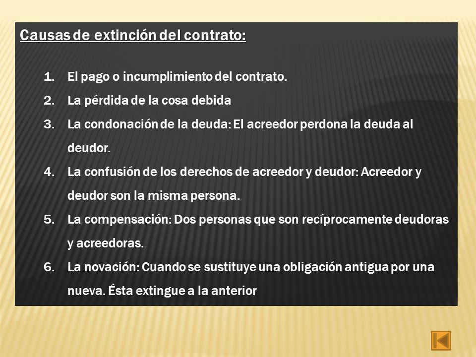 Causas de extinción del contrato: 1.El pago o incumplimiento del contrato. 2.La pérdida de la cosa debida 3.La condonación de la deuda: El acreedor pe