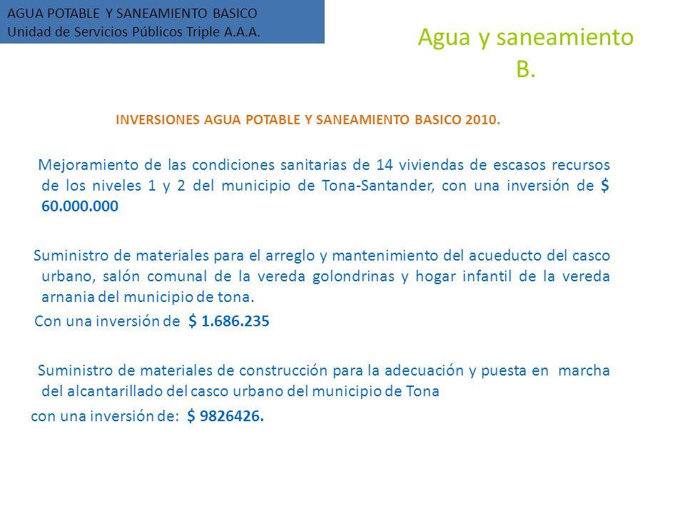 Agua y saneamiento B. INVERSIONES AGUA POTABLE Y SANEAMIENTO BASICO 2010.